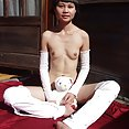Skinny malaysian girl angel flexes her nude body - image 2