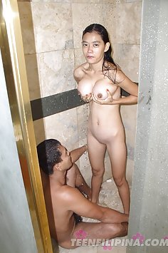 Busty filipina babe and boyfriend have sex in the shower
