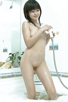 Petite asian beauty alicia gets soaped up