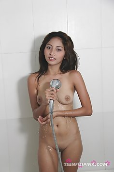 Wet and wild cute filipina girl fiend in the shower
