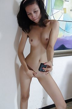 Asian teen does some nude gopro selfies
