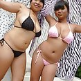Big busty tits on these cute Thai beach party girls - image 2